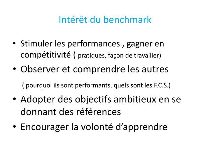 Intérêt du benchmark