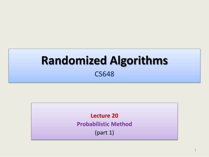 randomized algorithms cs648 n.
