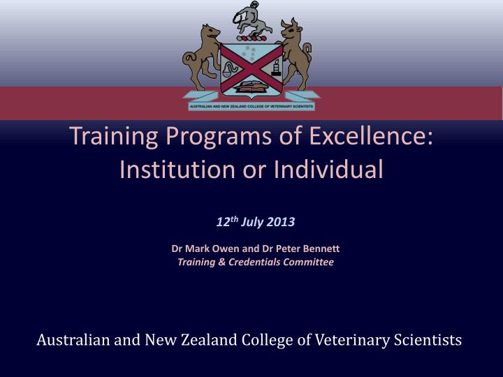 training programs of excellence institution or individual n.