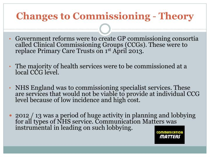 Changes to Commissioning