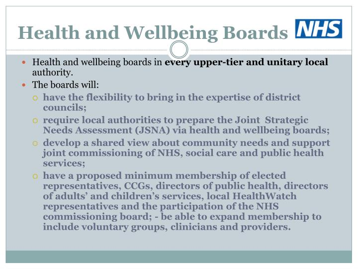 Health and Wellbeing Boards