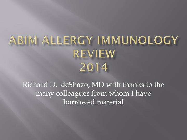 abim allergy immunology review 2014 n.