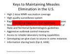 keys to maintaining measles elimination in the u s