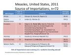 measles united states 2011 source of importations n 72