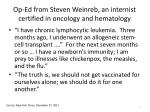 op ed from steven weinreb an internist certified in oncology and hematology