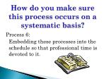 how do you make sure this process occurs on a systematic basis