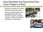data standards and data accesstask force program of work