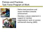 policies and practices task force program of work