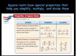 square roots have special properties that help you simplify multiply and divide them