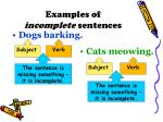 examples of incomplete sentences