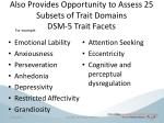 also provides opportunity to assess 25 subsets of trait domains dsm 5 trait facets