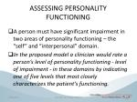 assessing personality functioning