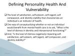defining personality h ealth a nd vulnerability