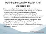 defining personality health and vulnerability