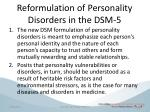 reformulation of personality disorders in the dsm 5