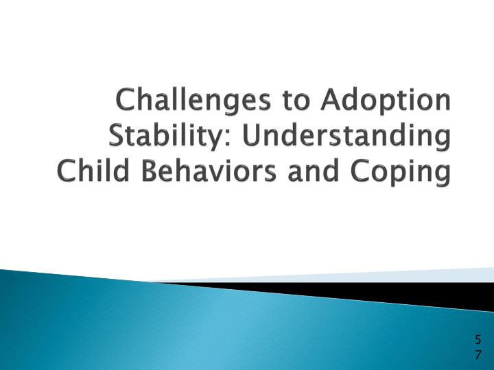 Challenges to Adoption Stability: Understanding Child Behaviors and Coping