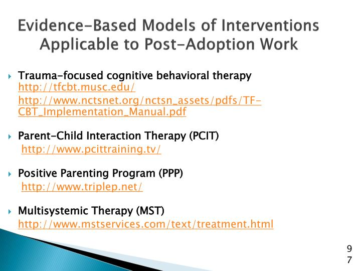 Evidence-Based Models of Interventions