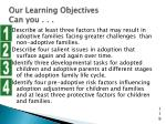 our learning objectives can you
