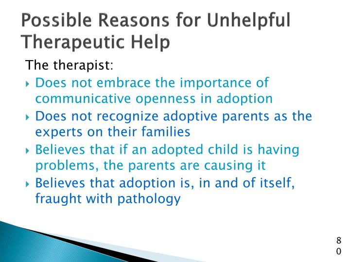 Possible Reasons for Unhelpful Therapeutic Help