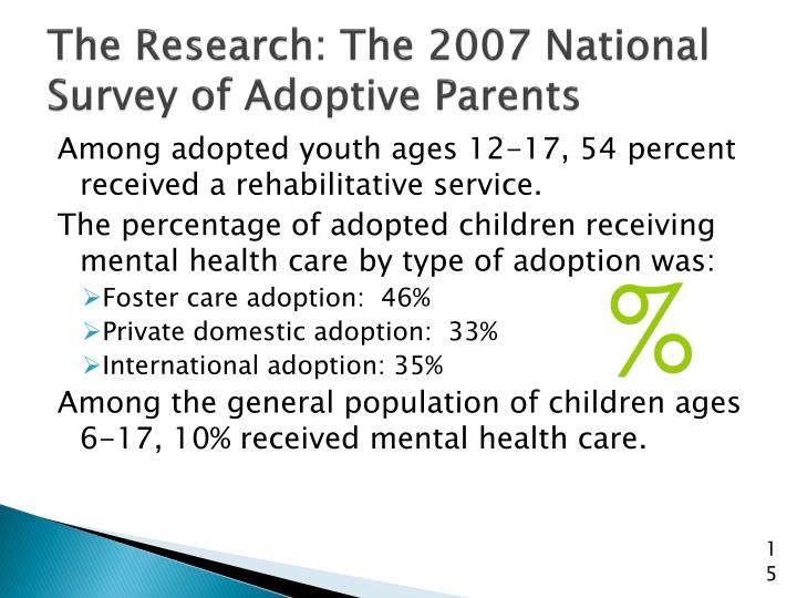 The Research: The 2007 National Survey of Adoptive Parents