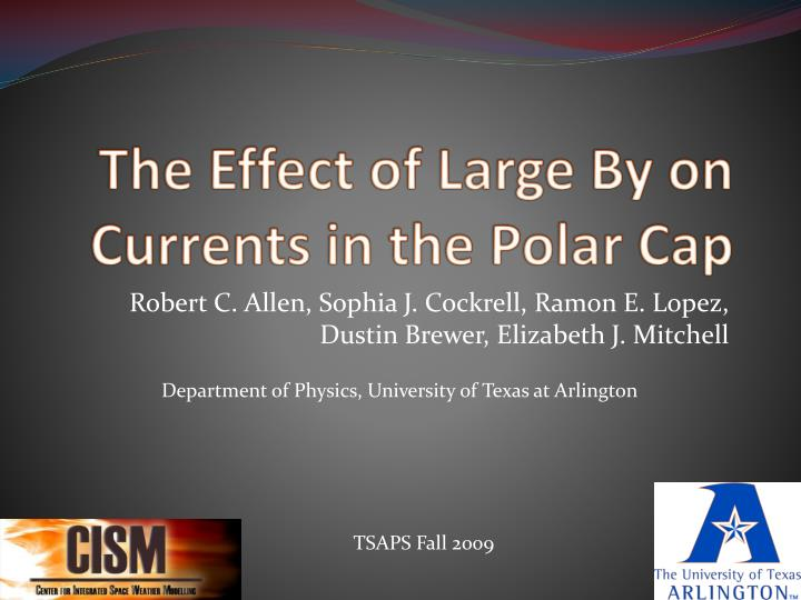 the effect of large by on currents in the polar cap n.
