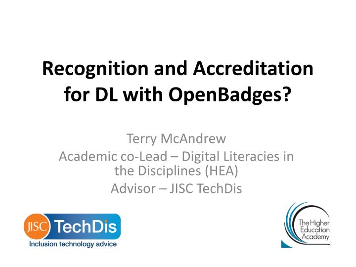 recognition and a ccreditation for dl with openbadges n.