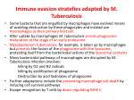 immune evasion stratefies adapted by m tuberculosis