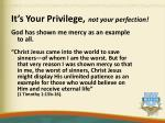 it s your privilege not your perfection