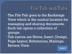 file tab and tabs