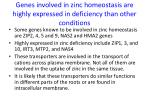 genes involved in zinc homeostasis are highly expressed in deficiency than other conditions