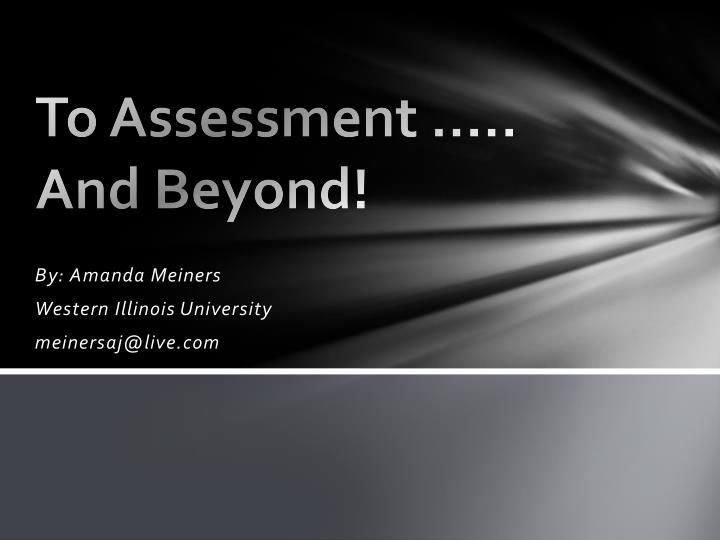 to assessment and beyond n.