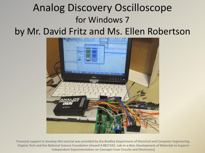 analog discovery oscilloscope for windows 7 by mr david fritz and ms ellen robertson n.