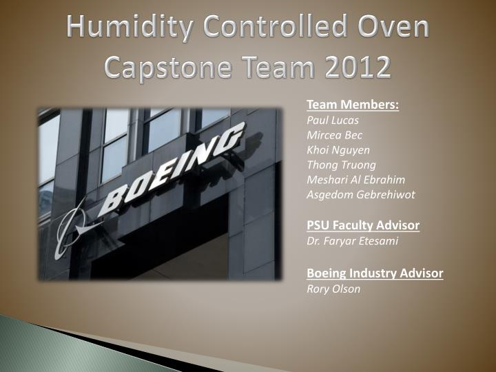 humidity controlled oven capstone team 2012 n.