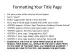 formatting your title page