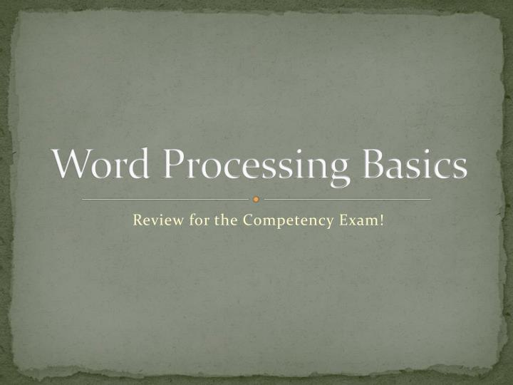 word processing basics n.