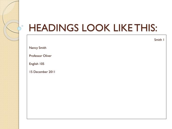 headings look like this n.