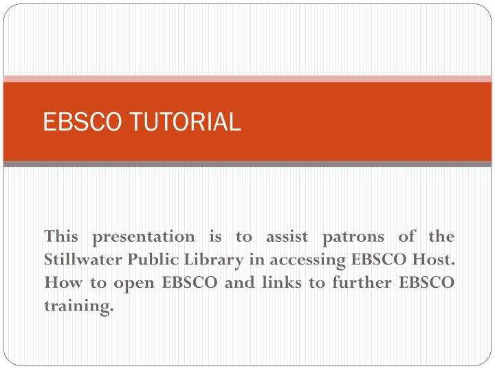 ebsco tutorial n.