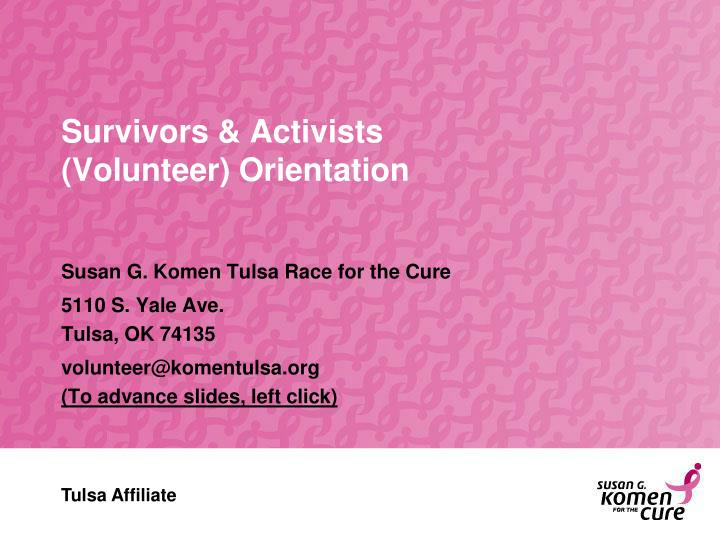survivors activists volunteer orientation n.