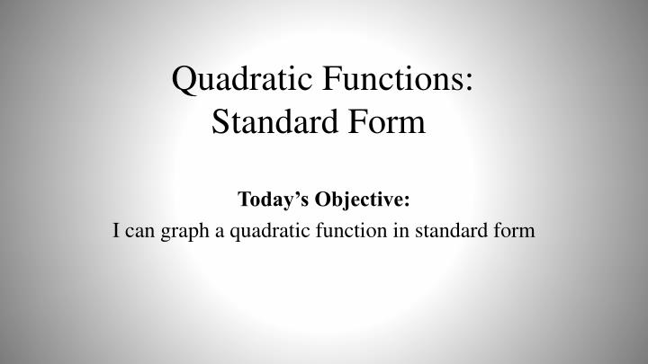 quadratic functions standard form n.