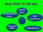 reaction to the bill