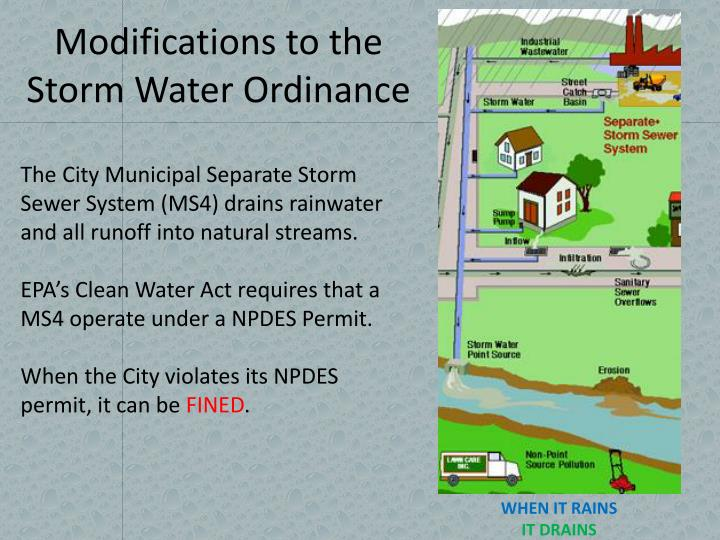 modifications to the storm water ordinance n.