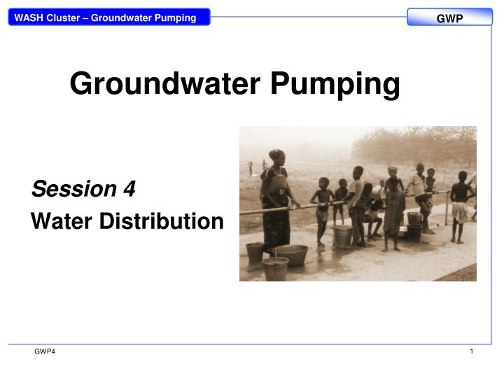 groundwater pumping n.
