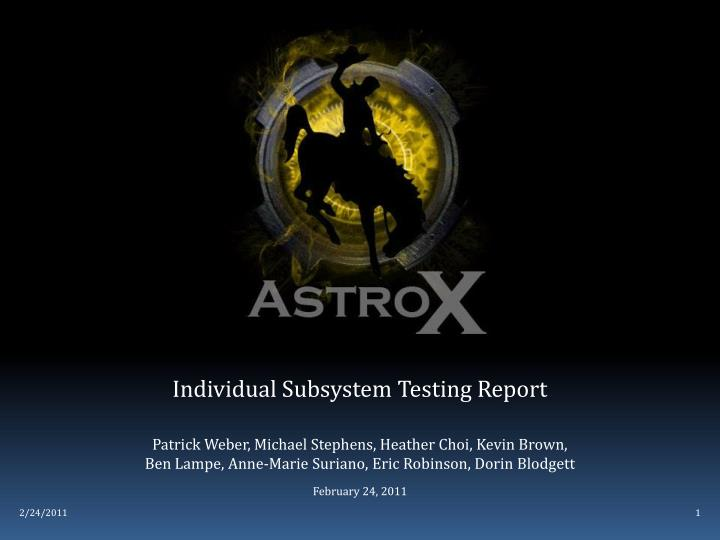 individual subsystem testing report n.