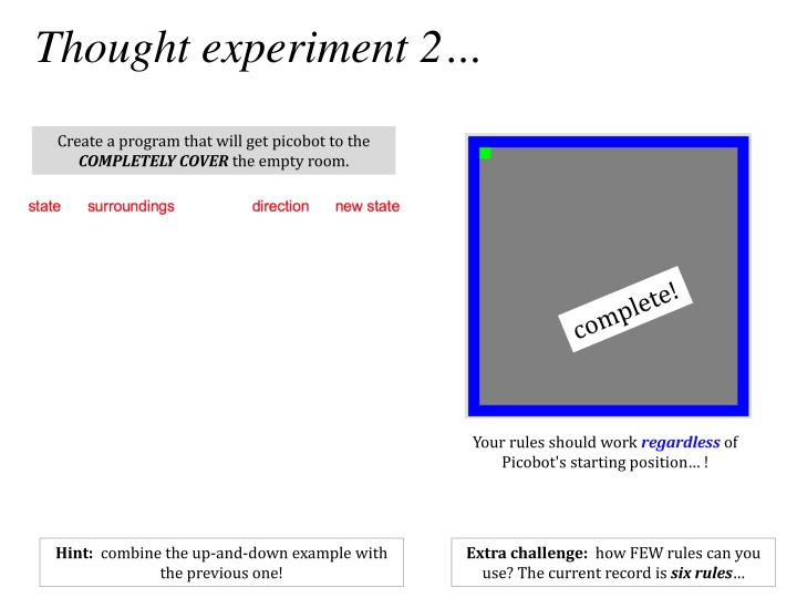 Thought experiment 2…