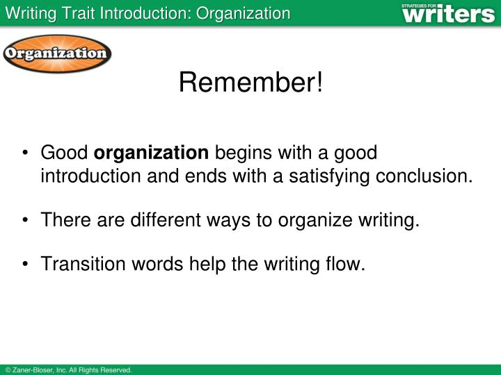 Writing Trait Introduction: Organization