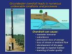 groundwater overdraft leads to numerous undesirable conditions and processes