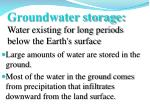 groundwater storage water existing for long periods below the earth s surface