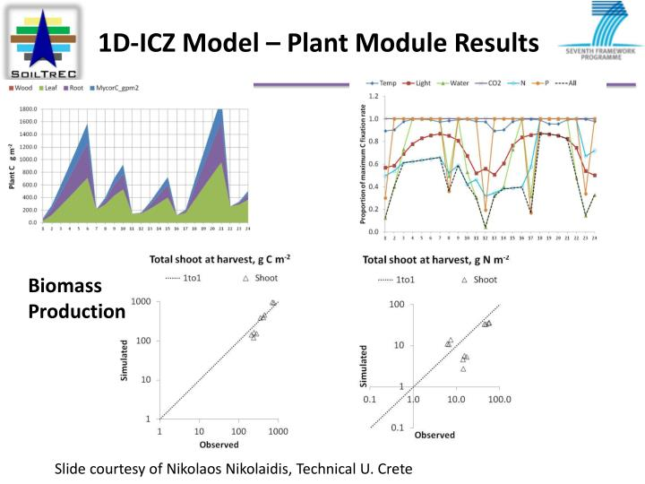 1D-ICZ Model – Plant Module Results