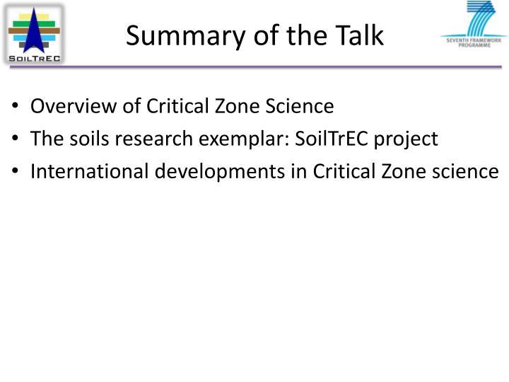 Summary of the talk