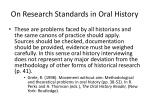 on research standards in oral history